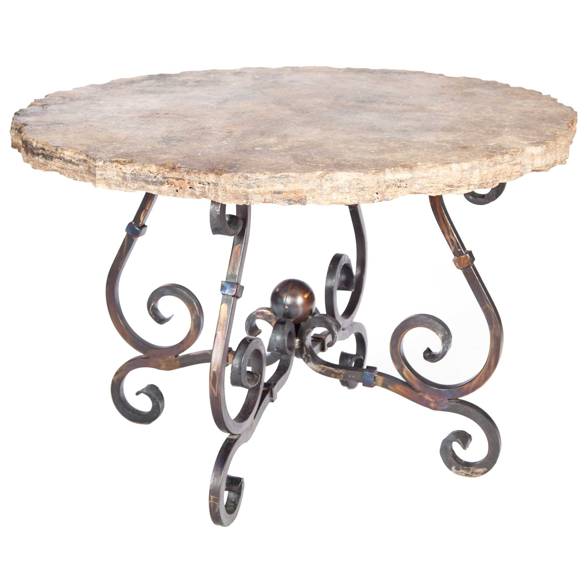 French Iron Dining Table With In Round Marble Top - Marble top extendable dining table