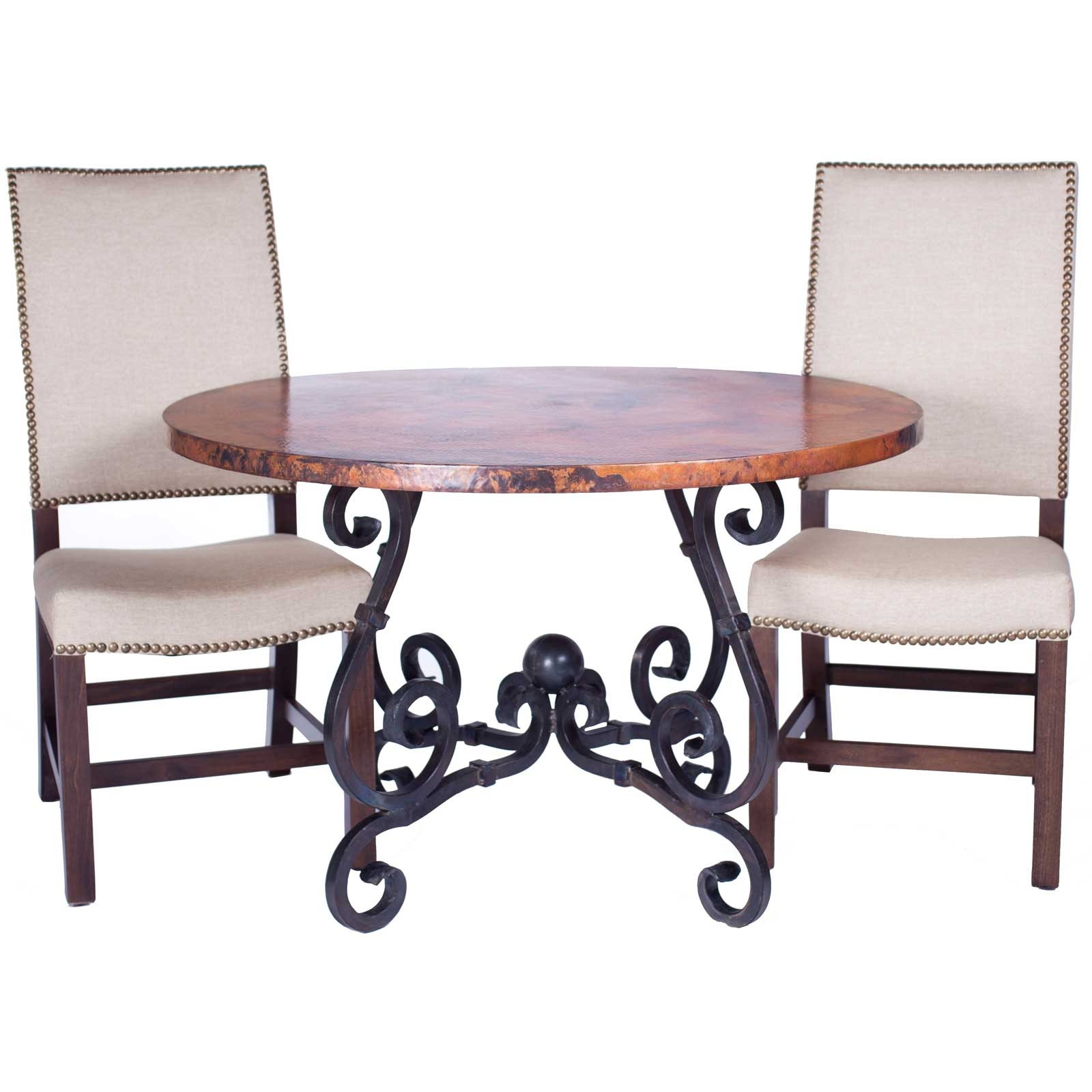 French Iron Dining Table with 60in Round Hammered Copper Top