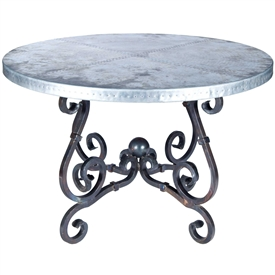 "Pictured here is the French Dining Table with Wrought iron base and 72"" Round Hammered Zinc Table Top"