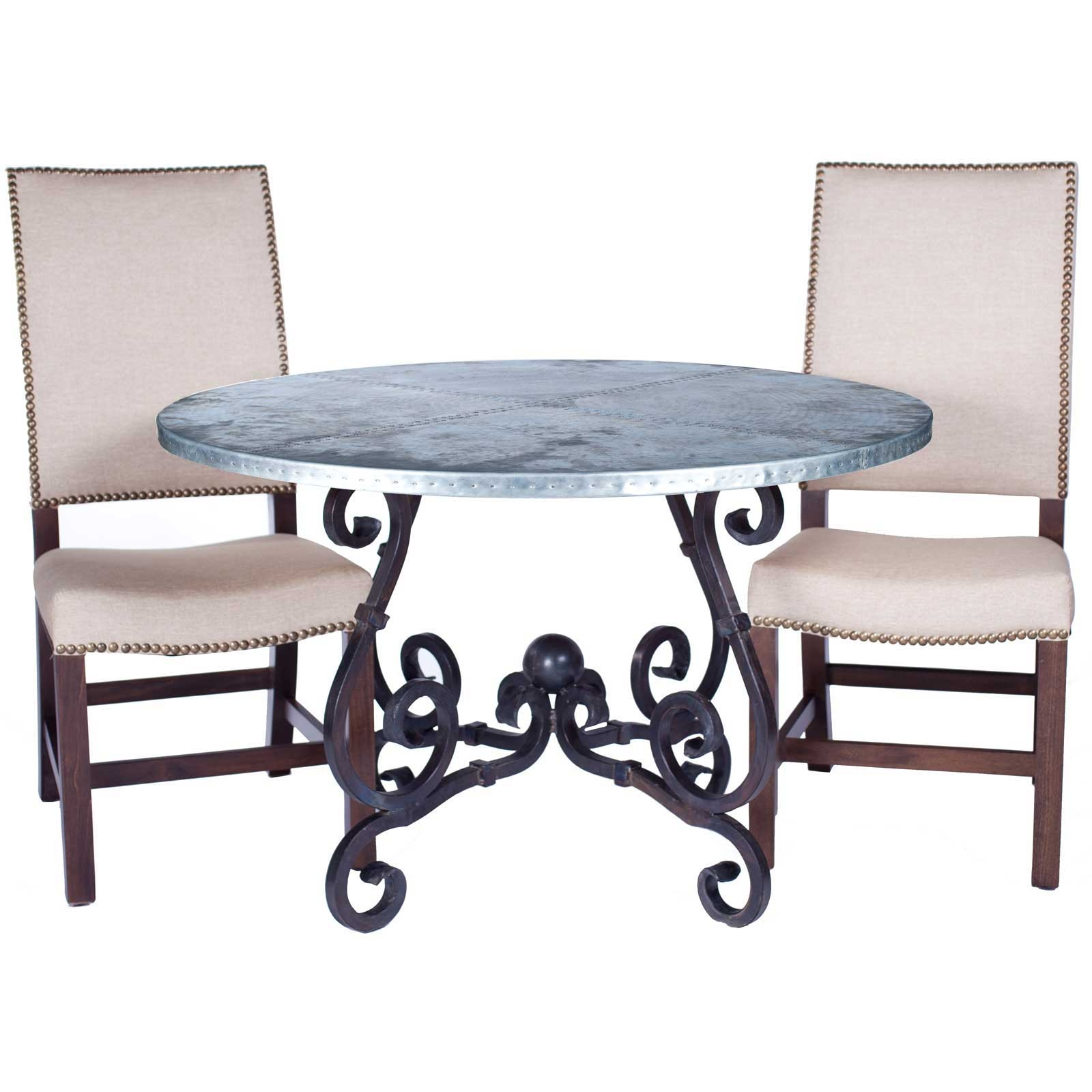 French Iron Dining Table with 72-in. Round Hammered Zinc Top