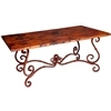 Pictured here is the French Rectangle Dining Table with Wrought iron base and Hammered Copper Table Top