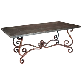 Pictured here is the French Rectangle Dining Table with Wrought iron base and Hammered Zinc Table Top