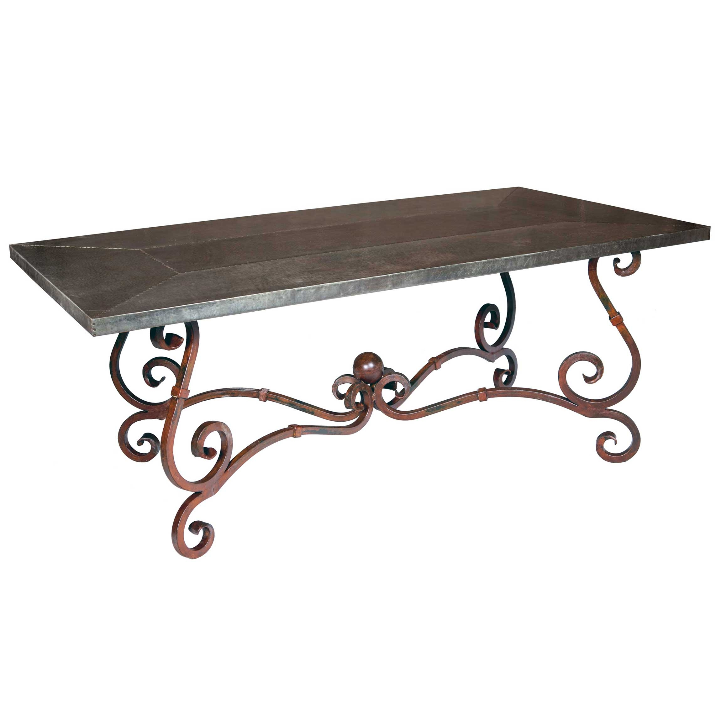 French Iron Rectangle Dining Table With Hammered Zinc Top
