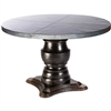 "Pictured here is the Fredrick Dining Table with solid wood base and 48"" Round Hammered Zinc Table Top"