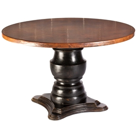 "Pictured here is the Fredrick Dining Table with solid wood base and 54"" Round Hammered Copper Table Top"