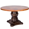 "Pictured here is the Fredrick Dining Table with solid wood base and 60"" Round Hammered Copper Table Top"