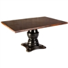 Pictured here is the Fredrick Dining Table with solid wood base and Rectangle Hammered Copper Table Top