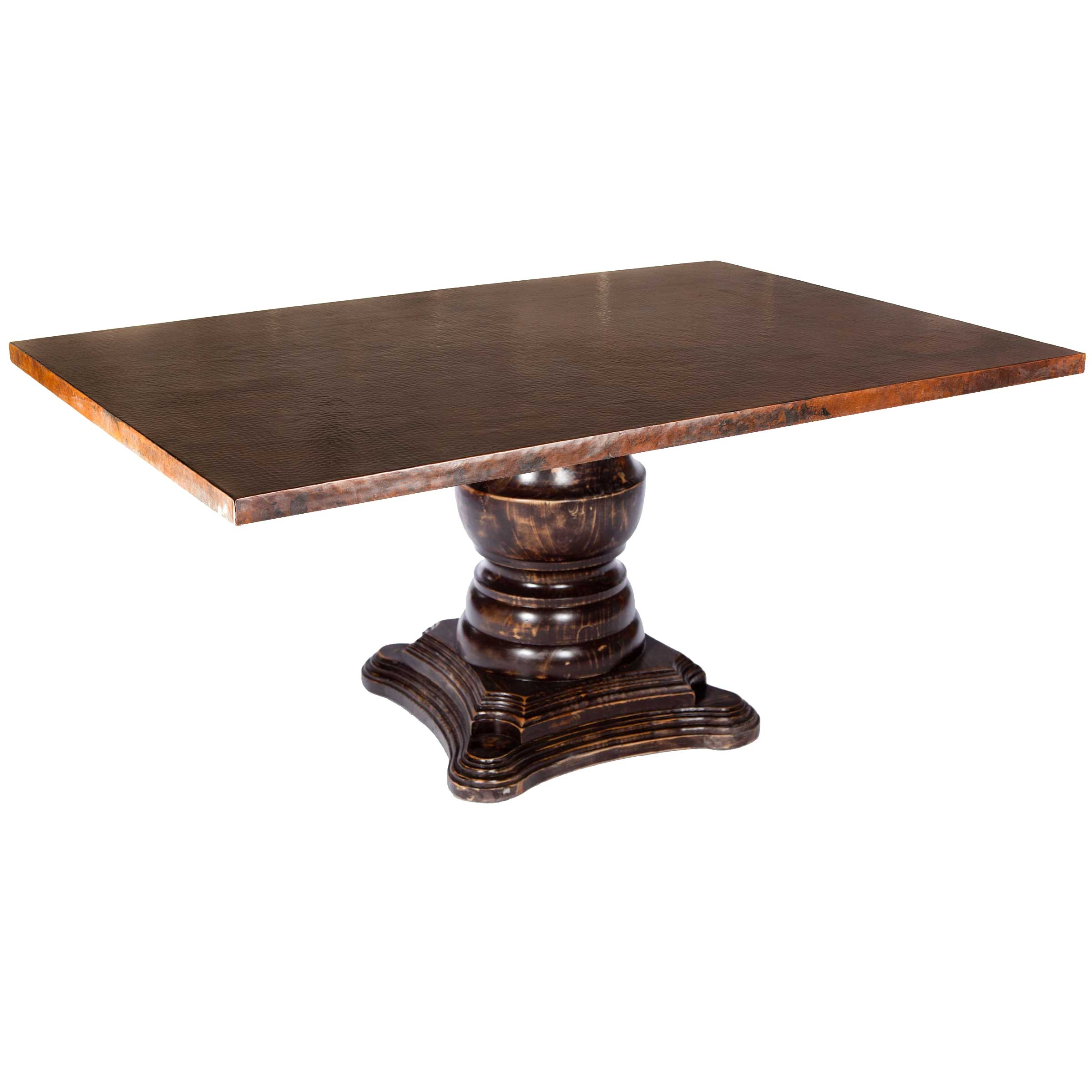 Fredrick wood base dining table with rectangle hammered for Table y copper
