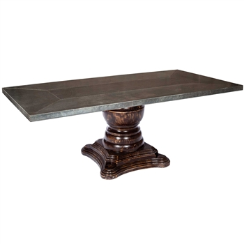 Pictured here is the Fredrick Dining Table with solid wood base and Rectangle Hammered Zinc Table Top