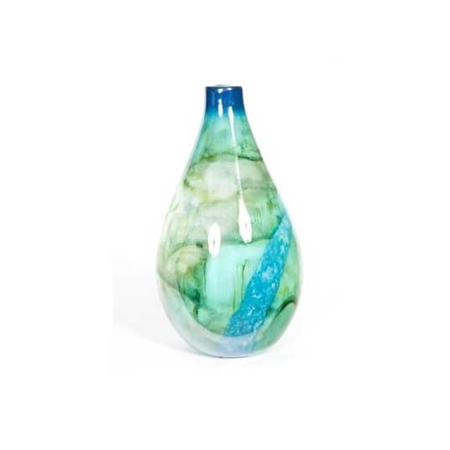 Pictured here is the Small Bottle in Atlantis Reef, hand-made from recycled glass.