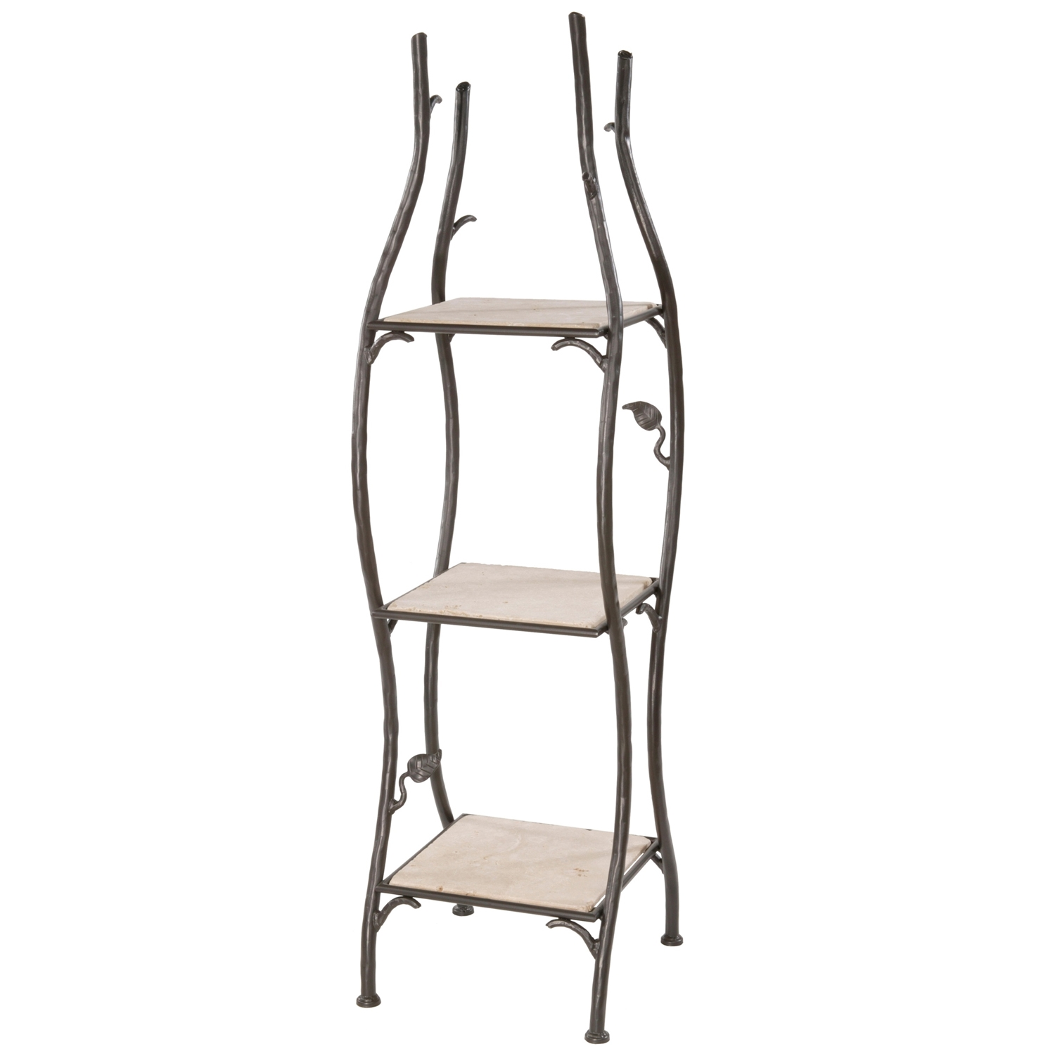 Wrought iron shelves bathroom - Pictured Here Is The Single Width Sassafras Standing Shelf With Rustic Wrought Iron Frame And