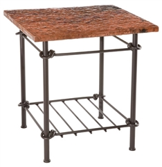 Knot Side Table with iron base is available with Glass, Copper and several varieties of wood tops.