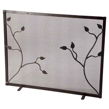 Pictured here is the Single Panel Eden Isle Fireplace Screen by Stone County Ironworks.