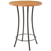 Pictured here is the Bistro Bar Height Table with a clean black wrought iron base and a 30 inch wood table top.