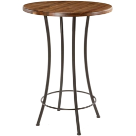 Pictured here is the Bistro Bar Height Table with a clean black wrought iron base and a 42 inch distressed pine table top.