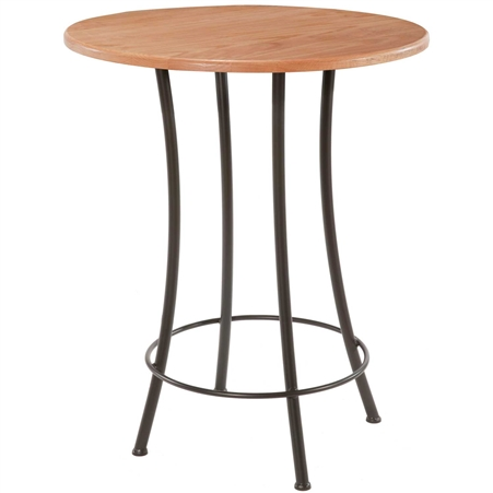 Pictured here is the Bistro Counter Height Table with a clean black wrought iron base and a 42 inch distressed pine table top.