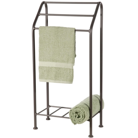 Pictured here is the free standing Monticello Towel Rack with a timeless natural black finish for a simple farmhouse look and feel.
