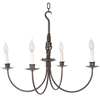 Pictured here is the hand-forged Basketweave 4-Arm Chandelier with natural black finish and ivory candle lights
