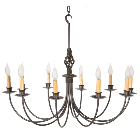 Pictured here is the hand-forged Basketweave 10-Arm Chandelier with natural black finish and amber candle lights