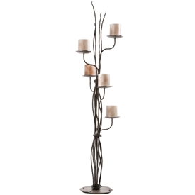 Pictured here is the Rush Wrought Iron Candelabra handcrafted by Stone County Ironworks