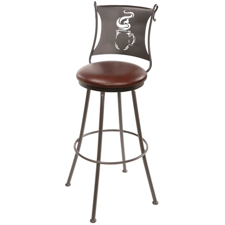 Pictured here is the latte cup bar stool featuring a plush leather upholstered seat and contoured back rest with a coffee cup silhouette in the back
