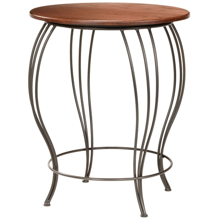 Pictured here is the Bella Counter Height Table with a 30 in round wood top and black iron base