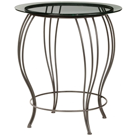 Pictured here is the Bella Bar Height Table with a 30 inch glass top and black wrought iron base.