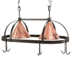 Pictured here is the wrought iron Oval Dutch Lighted Pot Rack with copper light shades, made by Stone County Ironworks.
