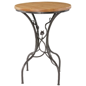 Pictured here is the Sassafras Bar Height Table with a rustic hand-forged wrought iron base and your choice of a 30inch round wood, copper or glass table top.