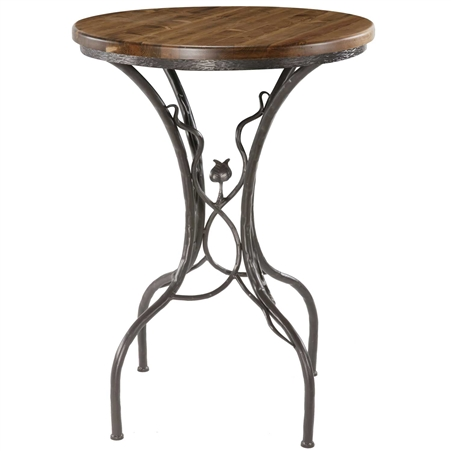 Pictured here is the Sassafras Bar Height Table with a rustic hand-forged wrought iron base and your choice of a 42inch round wood, copper or glass table top.