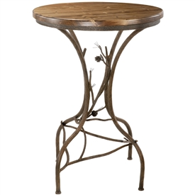 Pictured here is the Rustic Pine Counter Height Table standing 36 inches tall with wood table top and hand-forged iron table base by Stone County Ironworks.