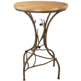 Pictured here is the Rustic Pine Counter Height Table with 42 inch diameter wood table top and hand-forged iron table base by Stone County Ironworks