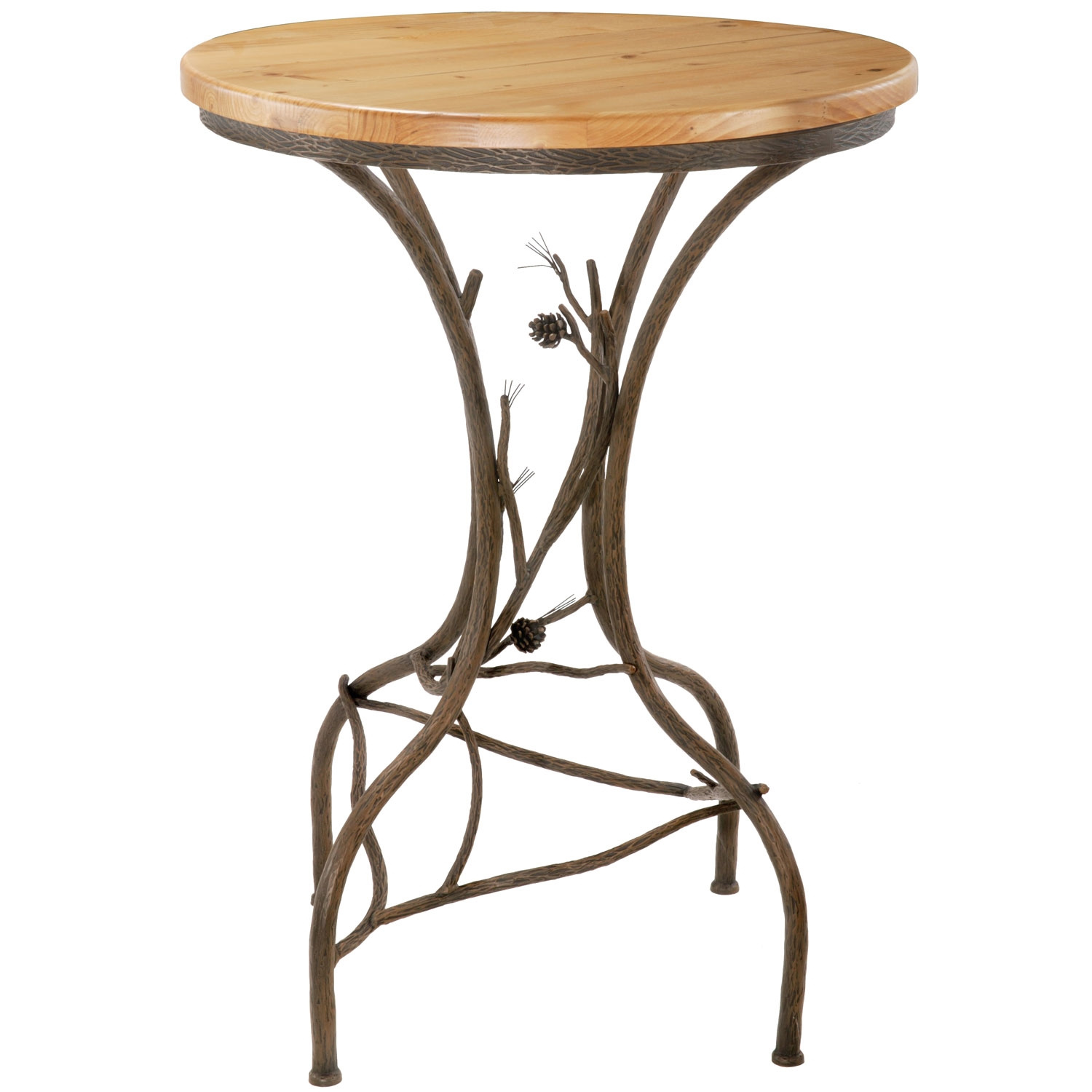 Rustic Pine Counter Height Table With In Round Top - Stone top counter height table