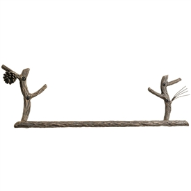 Pictured here is the Rustic Pine 24-inch Iron Towel Bar with a signature pine texture and accents hand-forged into every piece.