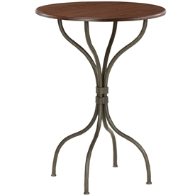 Pictured here is the Cedarvale Bar Height Table with textured wrought iron table base and a 30 inch diameter table top.