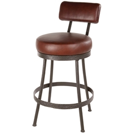 Pictured here is the Cedarvale Bar Stool with plush seat and backrest, available in several iron finish and upholstery options.