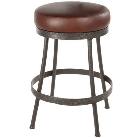 Pictured here is the Backless Cedarvale Bar Stool with a premium leather upholstered swivel seat and hand-forged wrought iron frame.