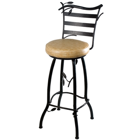 "Pictured here is the Green Forest 30"" Round Barstool by Stone County Iron Works"