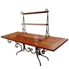 Pictured here is the 8 Foot wide Waterbury Folding Banquet Table with hand forged wrought iron frame and wood table top.