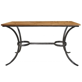 Pictured here is the rustic style Montage Intimate Wrought Iron Base Dining Table with wood and copper table top options