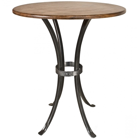 Pictured here is the Montage Bar Height Table with a wrought iron table base and a 30 inch diameter table top.