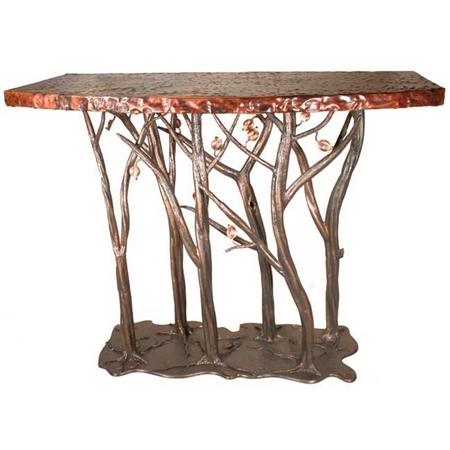 Pictured here is the Enchanted Forest Console Table with wrought iron table base and a wood or copper table top.