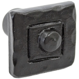 Pictured here is the iron Sedona cabinet knob with a square face that illustrates classic hammer and chisel work, giving this piece a sophisticated look.