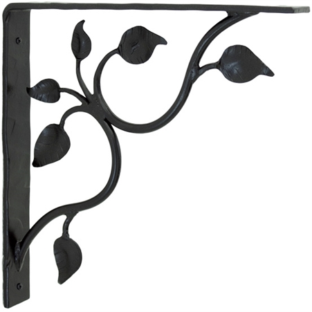 Pictured here is the hand-forged wrought iron leaf corbel from Stone County Ironworks.