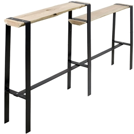 Pictured here is the Urban Forge Iron Console Table Split Level hand-forged by Stone County Ironworks.