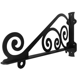 Pictured is the Traditional Wrought Iron Sign Bracket with the flat black finish