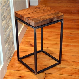 Pictured here is the American Country Small End Table with clear over raw iron finish and limited reclaimed wood top.