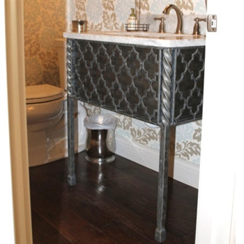 Pictured here is the 25.5 inch wide Victoria Iron Bathroom Vanity Base with legs available in several finish options.