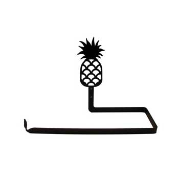 Pictured here is a black metal wall mounted paper towel holder with a decorative pineapple silhouette.