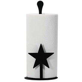 Pictured Here is the Start Metal Paper Towel Stand with a timeless flat black finish, holds 1 standard paper towel roll.